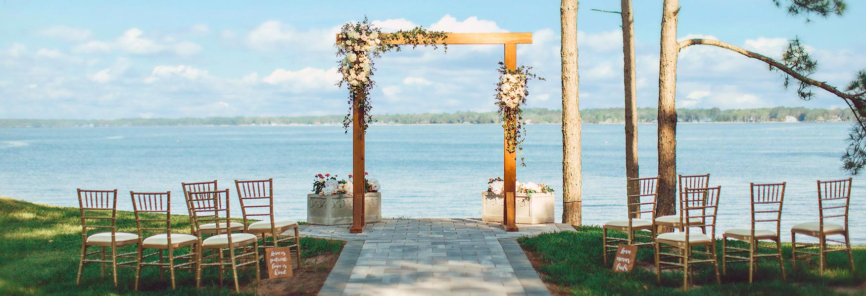 Waterfront wedding trellis