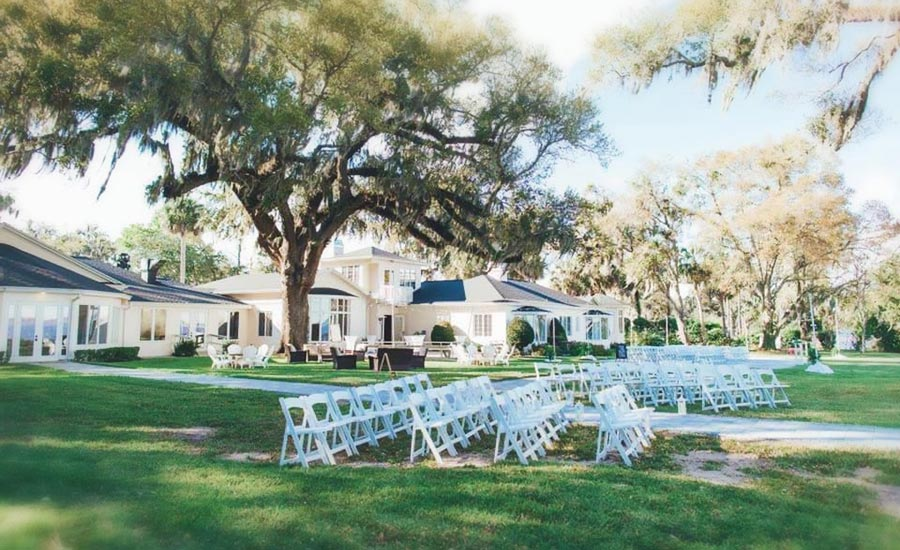 Wide lawn with rows of white chairs