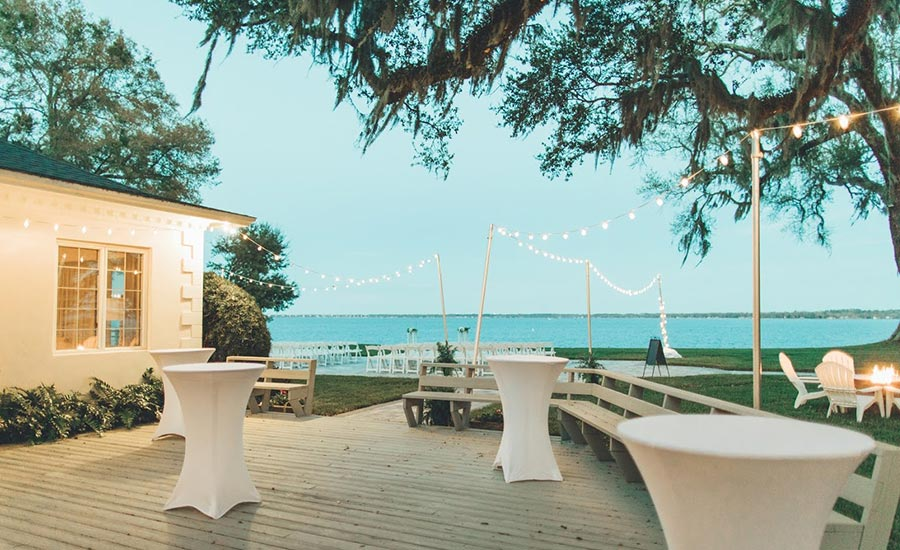 Deck and water view wedding set up